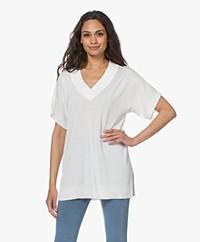 Josephine & Co Lindi Long V-neck Short Sleeve Sweater - Off-white