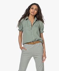 ba&sh Danee Short Puff Sleeve Shirt - Vertdeau