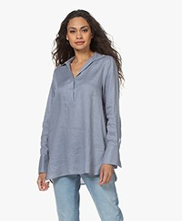 Repeat Linnen Splithals Blouse - Dusty Blue
