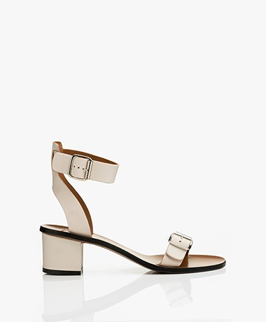 ATP Atelier Carmen Leather Heeled Sandals - Ice White