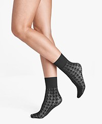 Wolford Dylan Houndstooth Socks - Black