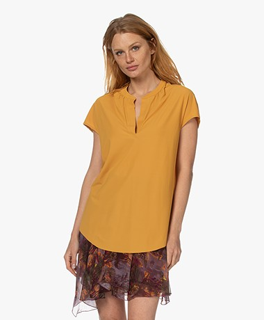 JapanTKY Kae V-slit Blouse with Short Sleeves - Ochre Yellow