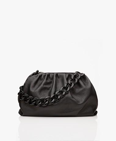 LaSalle Leren Handtas met Schakelketting - Zwart
