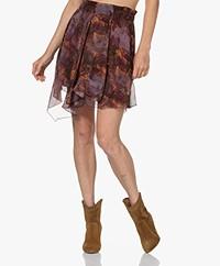 IRO Guetta Printed Crepe Chiffon Mini Skirt - Burgundy