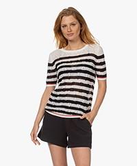 Plein Publique La Linne Short Sleeved Sweater - Off-white/Blackl