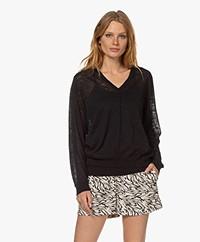 Closed Delicate Linnen Blend Sweater - Black