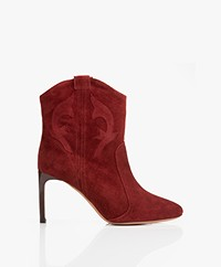 ba&sh Caitlin Suede Ankle Boots - Burgundy