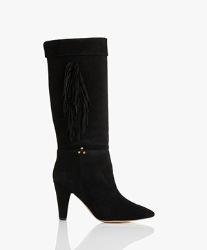 Jerome Dreyfuss Sandie Suede Boots with Fringes - Black