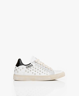 Zadig & Voltaire Heart Leren Sneakers - Used White