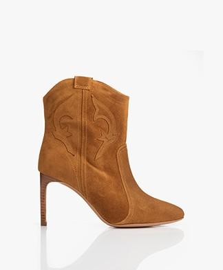 ba&sh Caitlin Suede Ankle Boots - Cognac