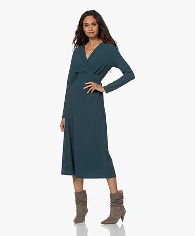 no man's land Travel Jersey Midi Dress - Dark Peacock