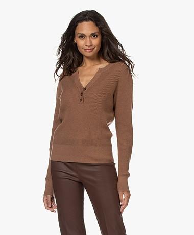 Repeat Organic Cotton and Cashmere Split Neck Sweater - Moka