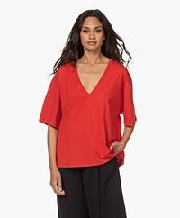 IRO Tyrese Katoenen V-hals T-shirt - Rood