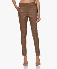 no man's land Leather Pull-on Pants - Dark Camel