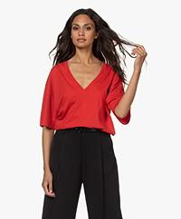 IRO Tyrese Cotton V-neck T-shirt - Red