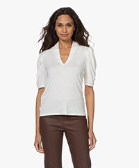 ba&sh Kendall V-neck T-shirt with Puffed Sleeves - Off-white