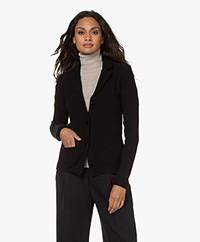 Belluna Fiore Wool Blend Knit Blazer Cardigan - Black