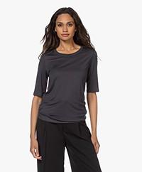 Filippa K Elena Tencel Elbow-length Sleeve T-shirt - Storm Blue