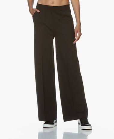 LaSalle Ponte Jersey Wijde Pijpen Sweatpants - Zwart