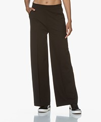 LaSalle Ponte Jersey Wide Leg Sweatpants - Black