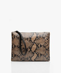 indi & cold Leather Snake Print Clutch - Beige/Black