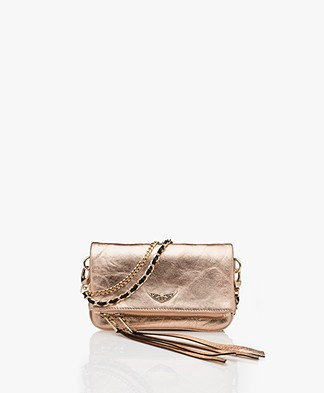 Zadig & Voltaire Rock Nano Metallic Schoudertas/Clutch - Rose Gold