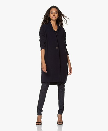Woman by Earn Paige Ribbed Modal Blend Cardigan - Navy