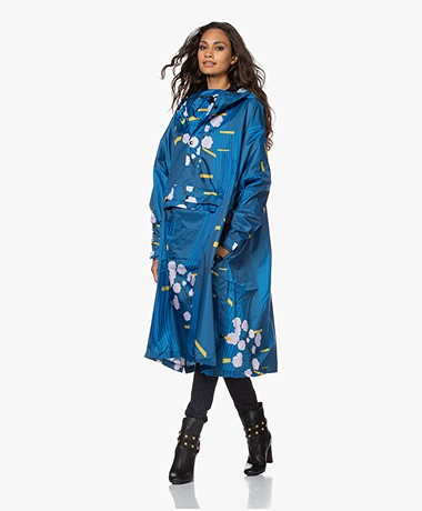 Rainkiss Blue Japanse Blossom Recycled Rain Poncho - Blue