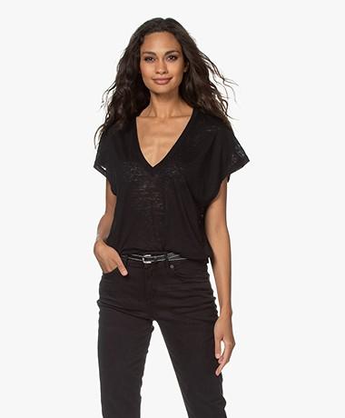 IRO Volt Burnout V-hals T-shirt - Zwart