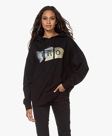 IRO Luxey Metallic Logo Hoodie - Zwart