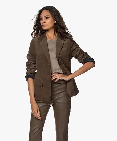 Woman by Earn Ann Corduroy Blazer - Army