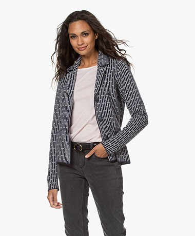 Belluna Martino Merino Wool Blend Jacquard Blazer Cardigan - Navy/Grey