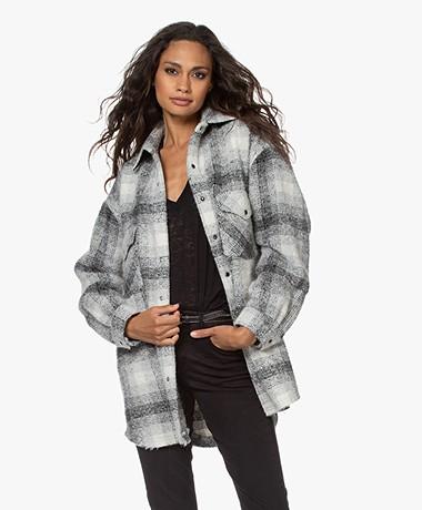 IRO Behar Oversized Checkered Bouclé Jacket - Grey/Off-white