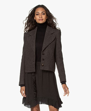 ba&sh Klimt Short Wool Blend Blazer - Brown