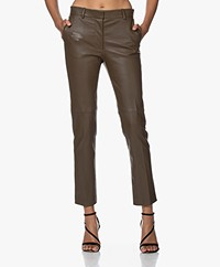 Joseph Coleman Stretch Leather Pants - Moss
