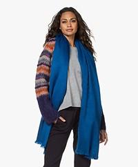 Alpaca Loca Handgemaakte Uni Sjaal in Alpaca - Azuurblauw