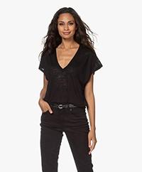 IRO Volt Burnout V-neck T-shirt - Black