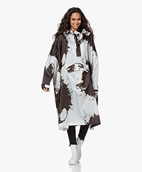 Rainkiss Paint Splashes Recycled Rain Poncho - Black Brown/White