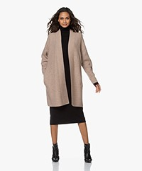 Repeat Open Wool and Cashmere Cardigan with Ajour Details - Sand