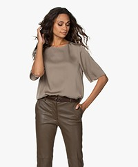 Filippa K Silk Short Sleeve Blouse - Grey Taupe