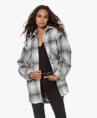 IRO Behar Oversized Checkered Bouclé Jacket - Grey/Off-white