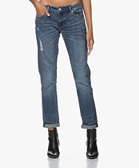 Denham Monroe Crd BCI Girlfriend Fit Jeans - Blauw