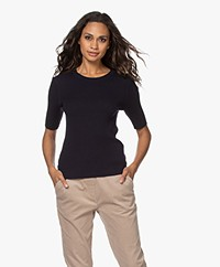 Repeat Half Sleeve Cotton Blend Rib Pullover - Navy