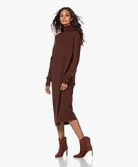 Drykorn Joseppa Fine Knit Virgin Wool Turtleneck Dress - Bitter Chocolate