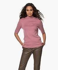 JapanTKY Tora Cotton Short Sleeve Turtleneck Sweater - Warm Pink