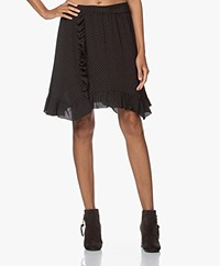 by-bar Ruby Stitched Crepe Print Skirt - Black