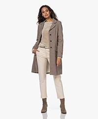 Woman by Earn Carol Long Wool Blend Blazer Coat - Dark Brown