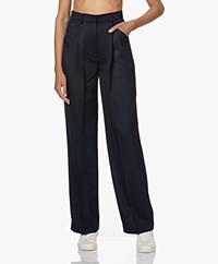 Róhe Lois Straight Wolmix Pantalon - Navy