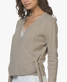 Sibin/Linnebjerg Milano Wool Blend Wrap Cardigan - Sand