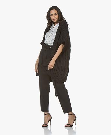 I Love Mr Mittens Fisherman Short Sleeve Open Cardigan - Black
